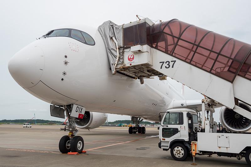 訓練飛行が行なわれているJALのエアバス A350-900型機の初号機。登録記号「JA01XJ」の機体