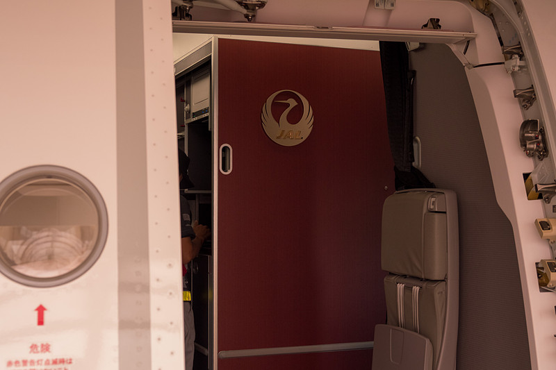 L1ドアから搭乗すると目に飛び込む大きなJALロゴ