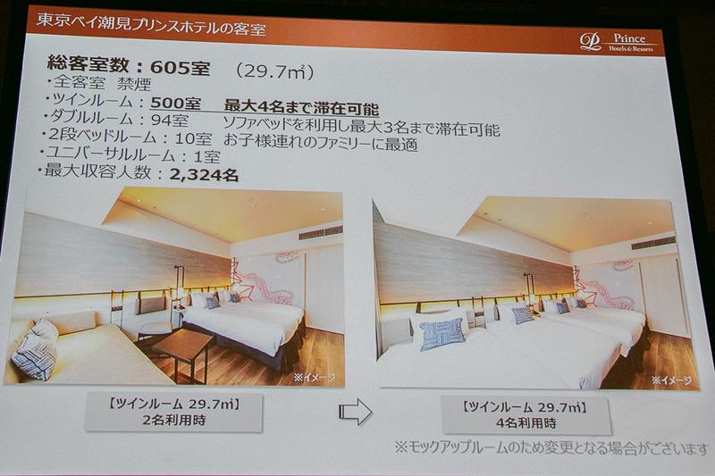 客室数は605室。最大で2324名が宿泊できる