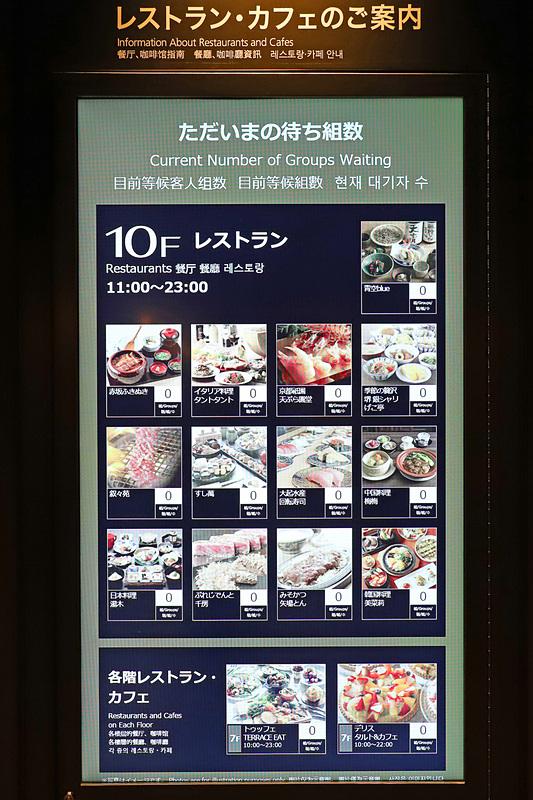 フロアにはデジタルサイネージがあり、各店舗の待ち時間などが多言語で表示される