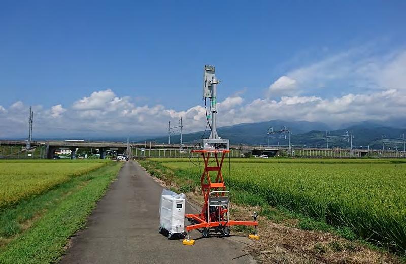 実験用5G基地局を仮設置した東海道新幹線沿線の実験エリア