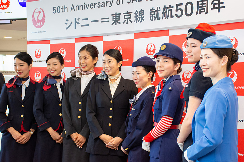 JALはシドニー国際空港でシドニー~東京線開設50周年の式典を行なった