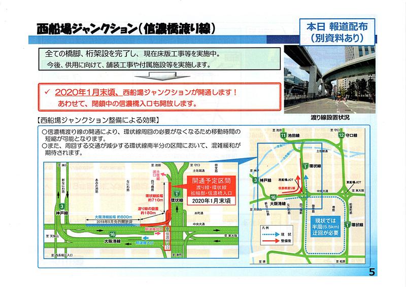 西船場JCTについて。図中の赤い道路が新規開通区間
