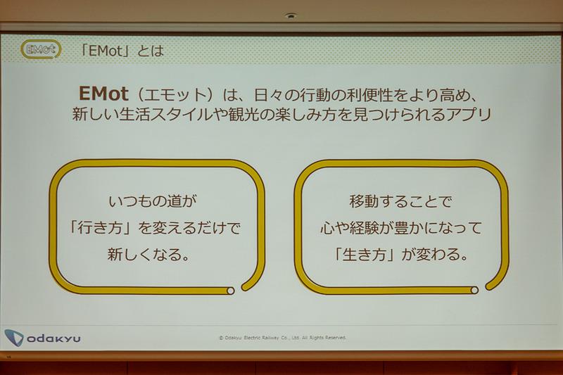 星野氏はEMotのロゴデザインなどについて説明。オープンな基盤として展開するべく、小田急カラーではないイエローをあえて選択し、小田急の名前も入れていない