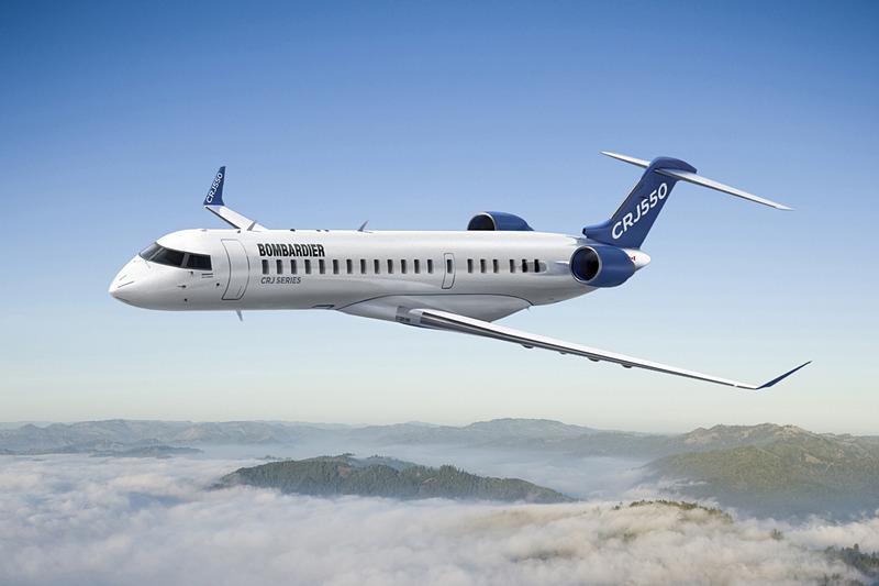 ユナイテッド航空は米国内線で新リージョナルジェット「ボンバルディア CRJ-550」型機を就航する(ボンバルディアのニュースリリースより)