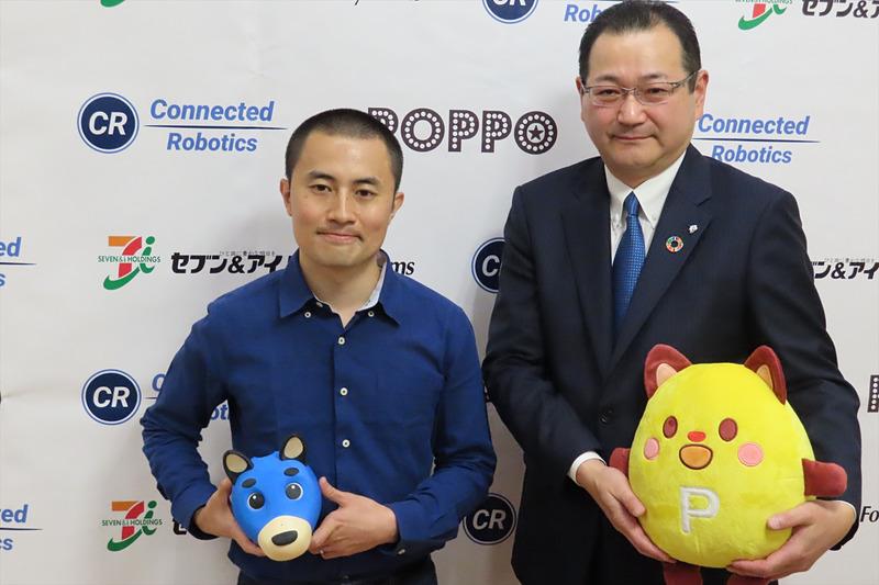 コネクテッドロボティクス代表取締役CEOの沢登哲也氏(左)とセブン&アイ・フードシステムズ代表取締役社長の小松雅美氏(右)