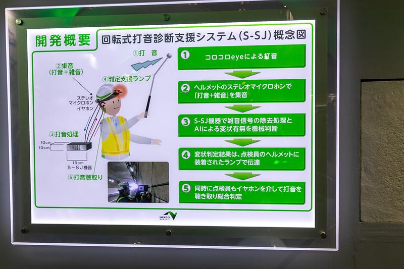 NEXCO東日本では、新しい取り組みとして「回転式打音診断支援システム(S-SJ)」を展示