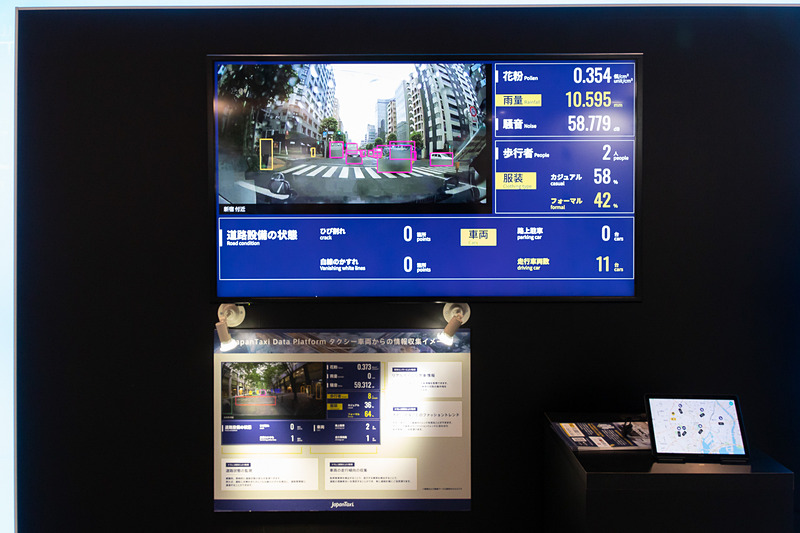 ドライブレコーダーで撮影された映像やセンサーの情報をAIで解析しているところ