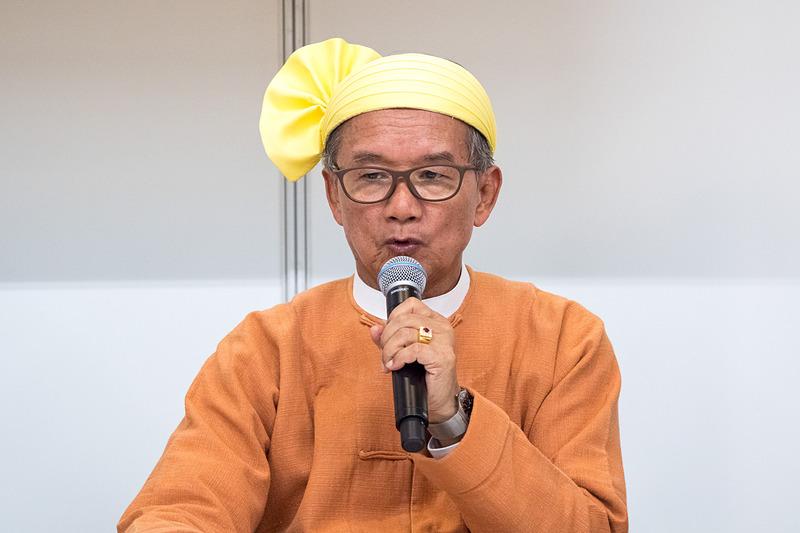ツーリズムEXPOジャパンでミャンマー連邦共和国 ホテル・観光大臣 オウン・マウン氏が記者会見し、観光ビザフリーの期間延長や、新たな観光地開発などについて紹介した