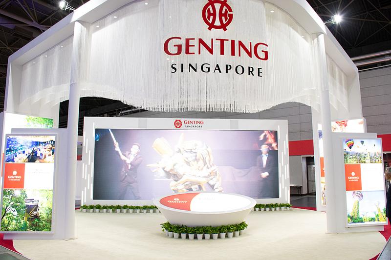 大型ディスプレイで紹介映像を流しているゲンティン・シンガポール