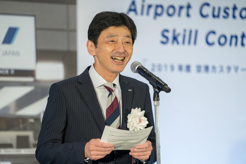 「今回のコンテストに出場している皆さんも応援される皆さんも、何かに気づいて、これからのANAのサービス向上に役立てていただきたい」と開会式であいさつした全日本空輸株式会社 執行役員 空港センター長 要海昌樹氏