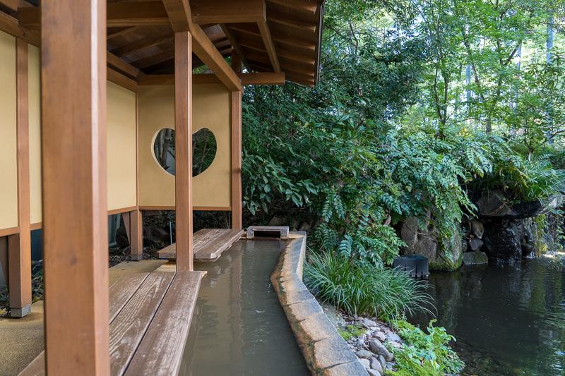 緑に囲まれた池を眺めながら足湯に浸かれます