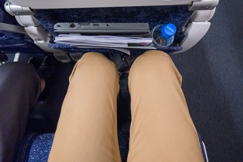 シートピッチ。記者の身長は約177cmで、シートポケットにペットボトルとノートPCを入れた状態の足下