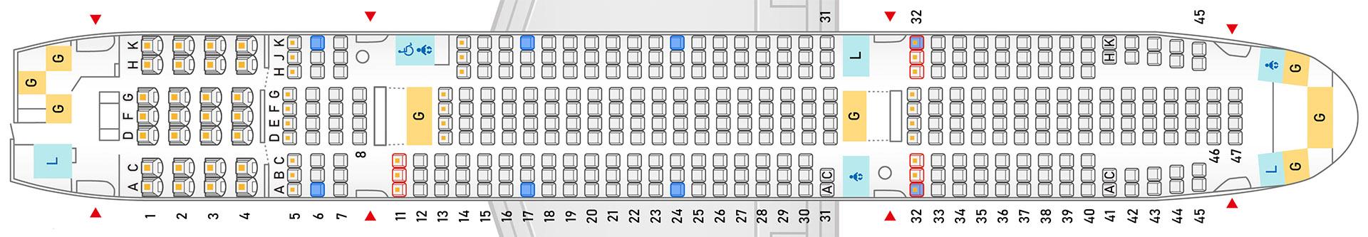 新客室仕様のANA国内線ボーイング 777-200型機のシートマップ