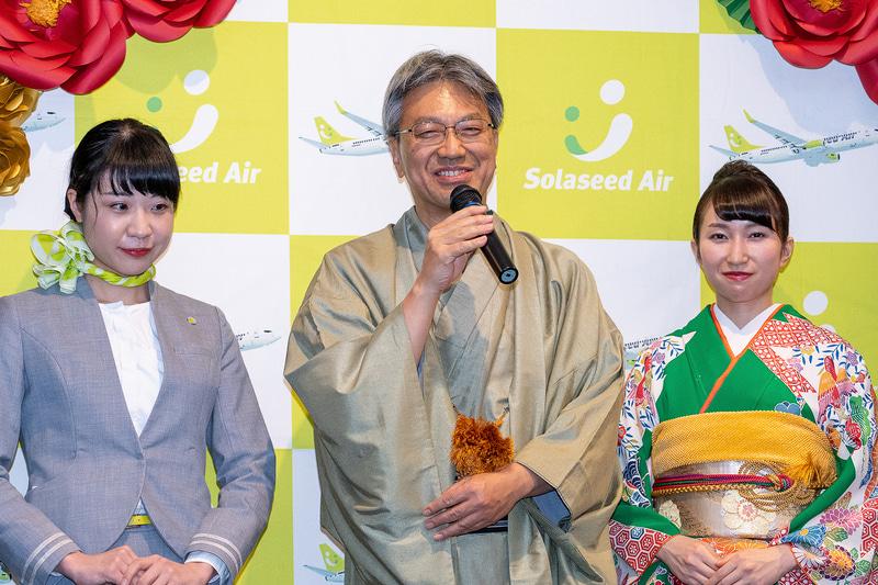 新春のあいさつをする株式会社ソラシドエア 代表取締役社長の髙橋宏輔氏