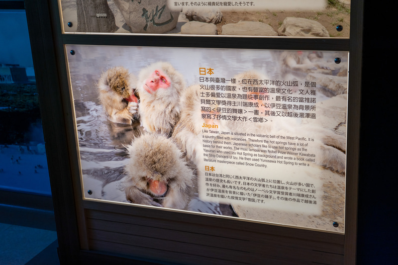こちらは日本の温泉の説明。写真は地獄谷野猿公苑のニホンザルでした