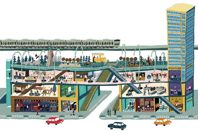 公園、駐車場、商業施設、ホテルが一体となる
