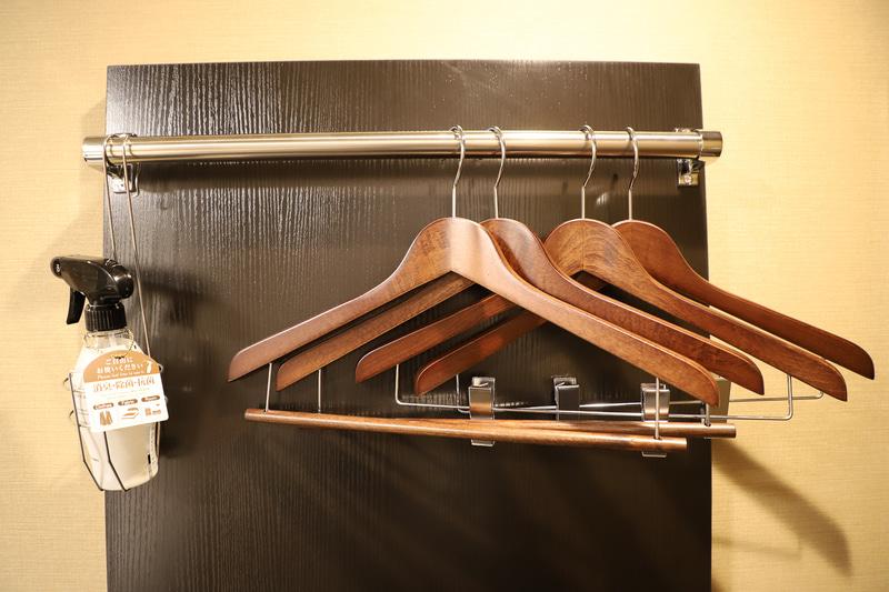 ドア付近にはハンガー、靴の手入れ用品、空気清浄機