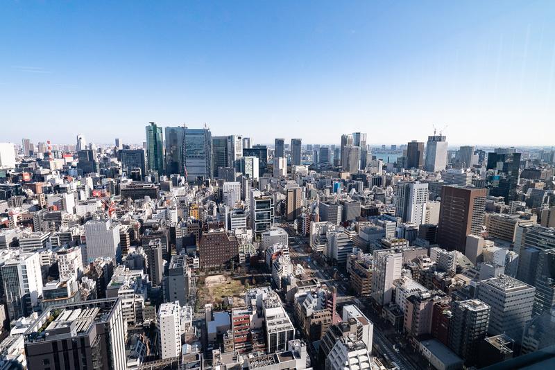 32階オフィスからの眺め。東京湾方面を見ている