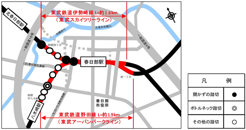 東武鉄道伊勢崎線(東武スカイツリーライン)と野田線(東武アーバンパークライン)の春日部駅付近の鉄道を高架化し、10か所の踏切を除却する