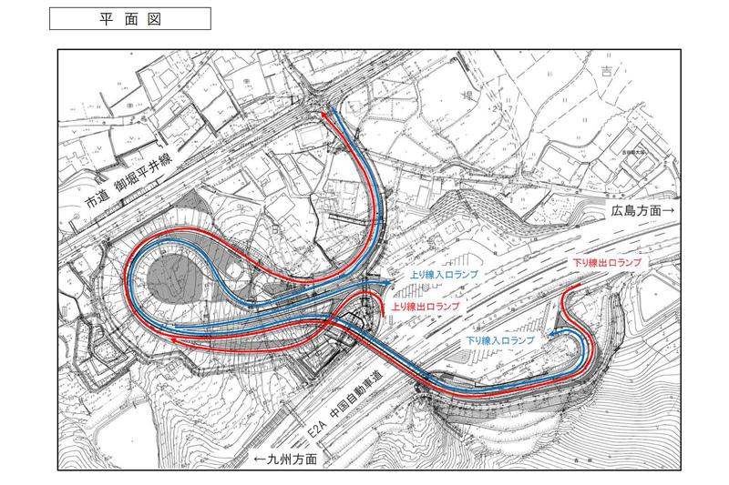 湯田温泉スマートICの平面図