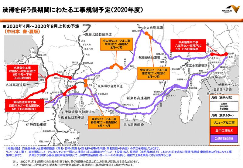 【NEXCO中日本】2020年度春・夏(2020年4月~8月上旬)に予定している渋滞を伴う長期間の工事規制予定