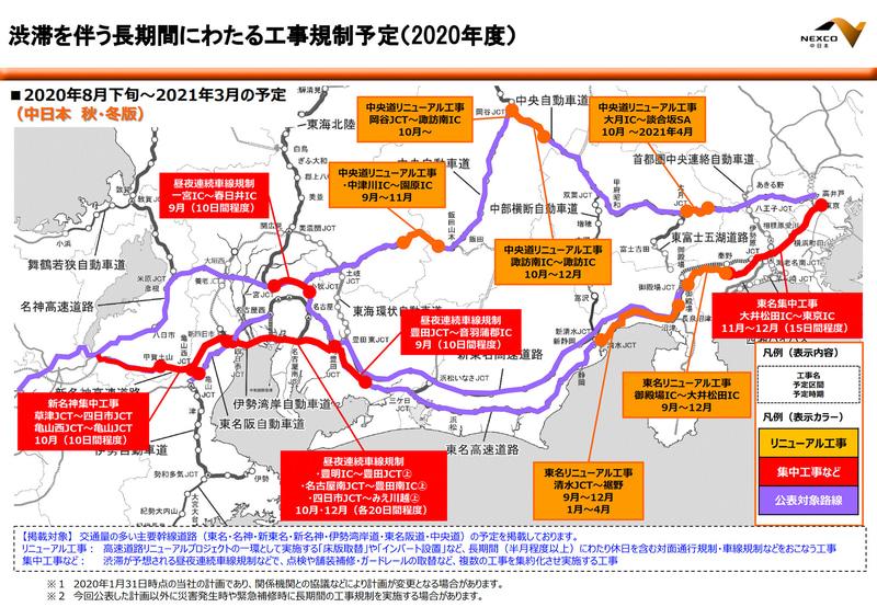 【NEXCO中日本】2020年度秋・冬(2020年8月下旬~2021年3月)に予定している渋滞を伴う長期間の工事規制予定