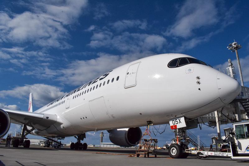 真っ白の機体が沖縄の青空に映える
