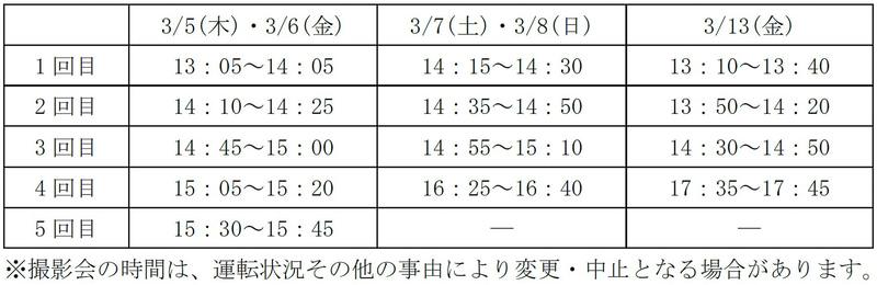 「スーパービュー踊り子引退記念撮影会『さよなら251系イベント』」スケジュール
