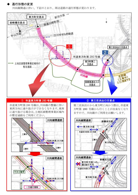 川向線開通に伴う市道東方町第280号線の通行形態変更について