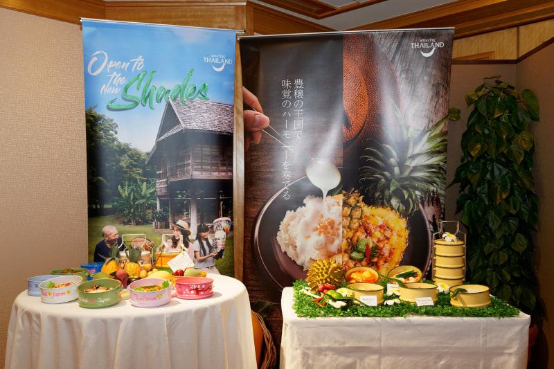 2020年のタイ国政府観光庁創設60周年を記念して、サステナブルをキーワードに、廃プラスチックを削減した「お弁当ジャーニーツアー」を旅行会社と企画している。会場にはカラフルな「Bento」が展示されていた