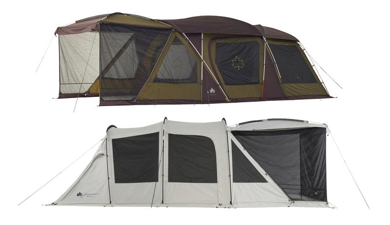デビルブロックルームを「PANEL SYSTEM」に取り付けることで3ルームテントを実現した