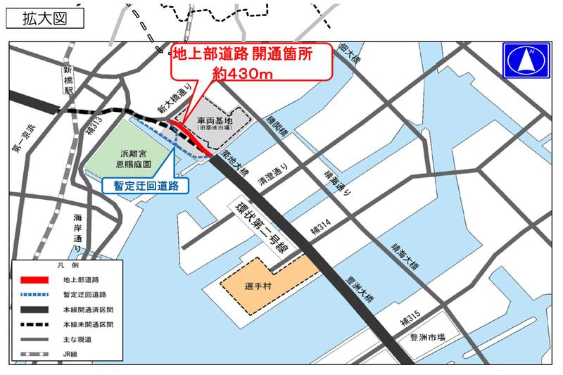東京都・環状2号線の地上部道路の位置