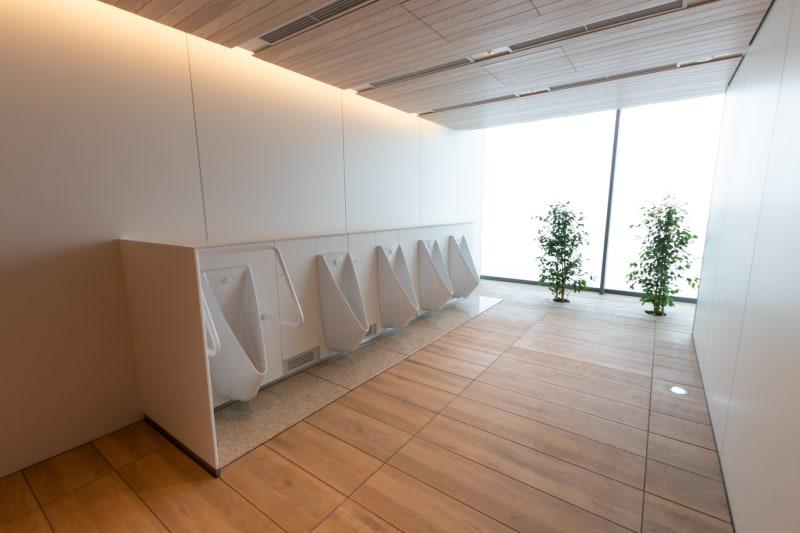 トイレなどの天井や壁面には木材が多く使われているのも特徴。耐久性を持たせるために表面には特殊加工が施されている
