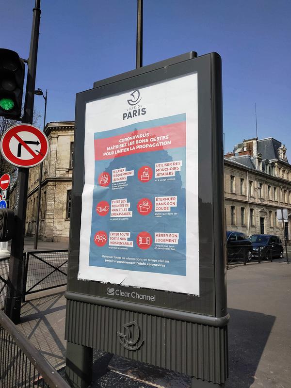 パリ市が出している新型コロナウイルス感染予防方法のポスター