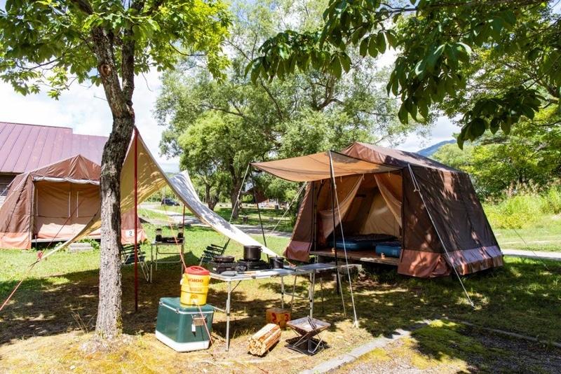 「手ぶらでキャンプ」プランではテントや道具をあらかじめ用意している
