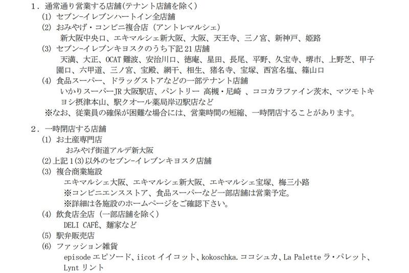 大阪府・兵庫県エリアにおけるJR西日本の駅ナカ店舗の営業について情報をまとめた