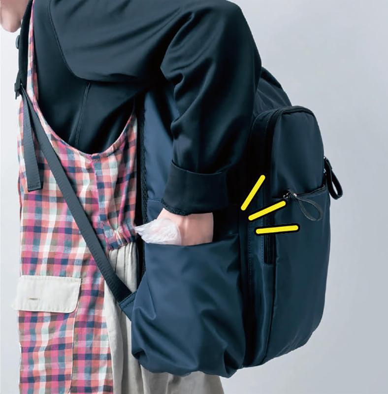 反対側のポケットにビニール袋ごとポイ!