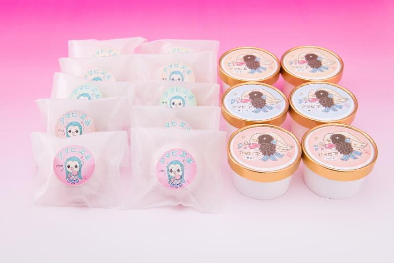 永田冷菓は妖怪「アマビエ」をモチーフとしたアイスクリームと生クリーム大福を発売した