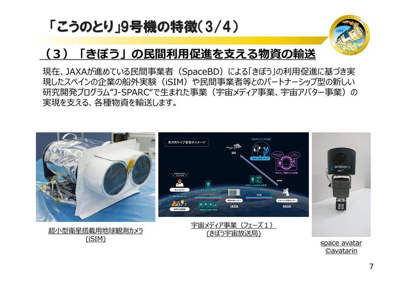 こうのとり9号機(HTV9)の実証実験や搭載品について(画像:JAXA)