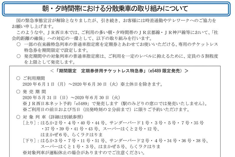 JR西日本は朝・夕時間帯の分散乗車の取り組みを実施する