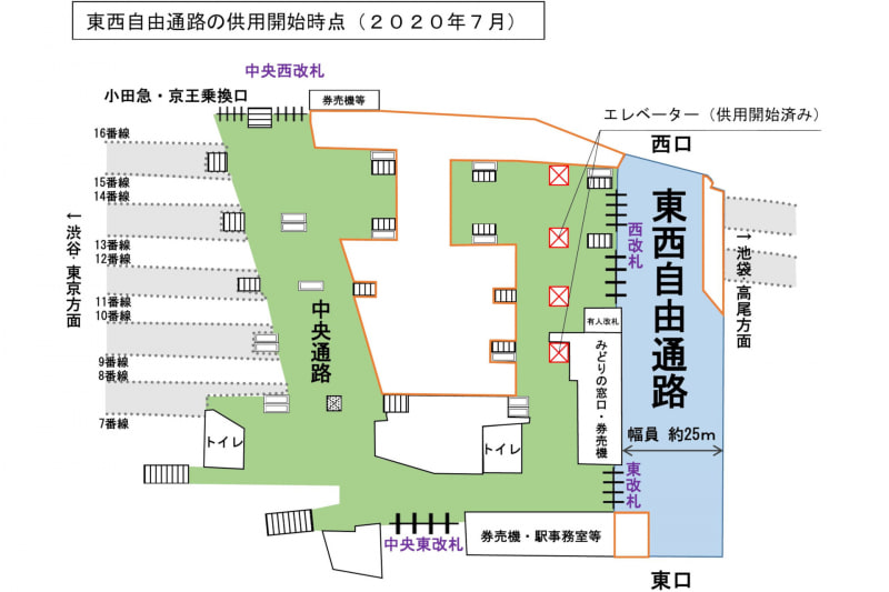 JR新宿駅の東西自由通路が7月19日から利用可能に