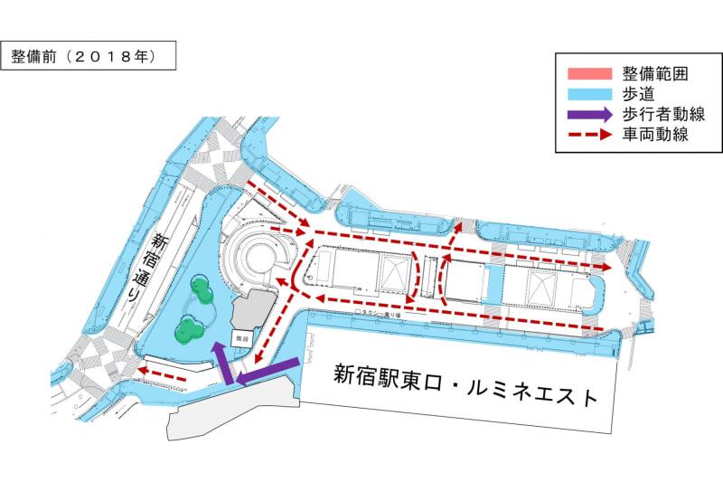 東口駅前広場(整備前、2018年)