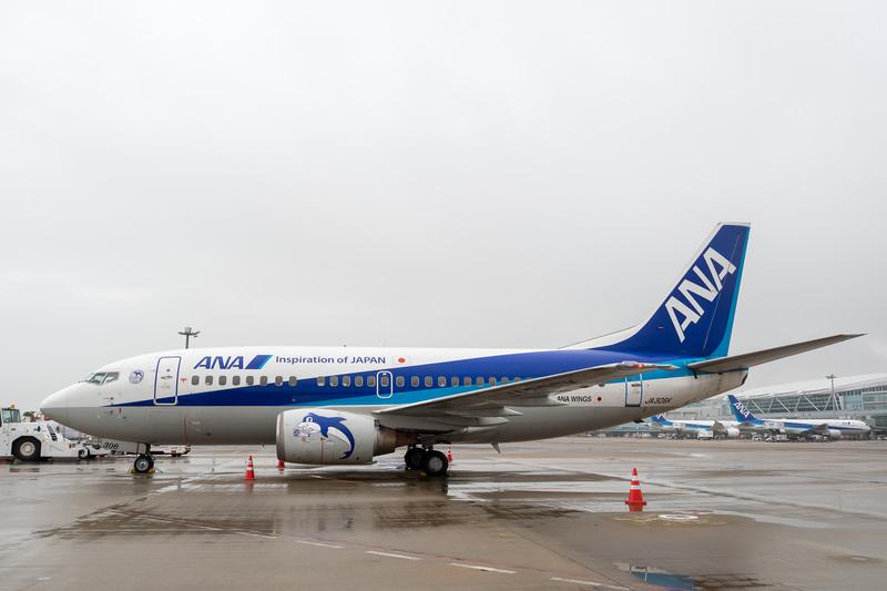 ボーイング 737-500型機は、ギア(着陸装置)の高さに対して大きなエンジンを搭載したため、エンジンカウルが扁平型になっているのも同機の特徴