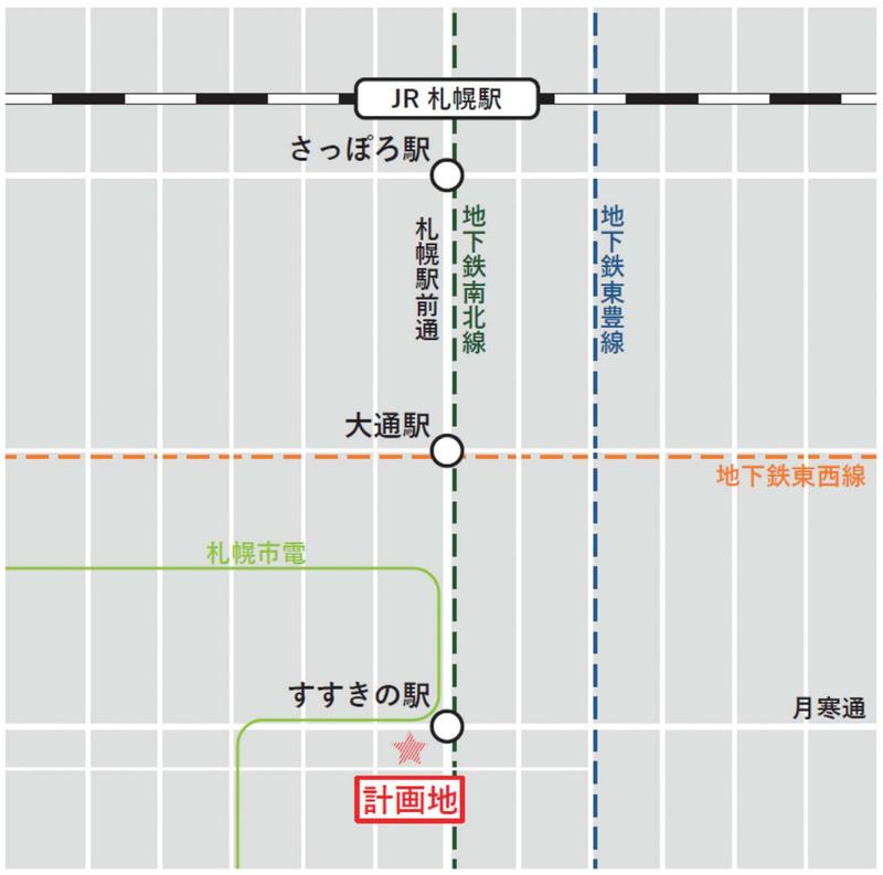 東急不動産は「(仮称)札幌すすきの駅前複合開発計画」に着手。「ススキノラフィラ」跡地に、ホテル、シネマコンプレックス、商業店舗等からなる複合施設を建設する