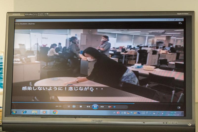 佐藤氏が動画を制作。安心なオフィスを整えていることを楽しく伝えるとともに、機内でのコロナ対策についても説明している