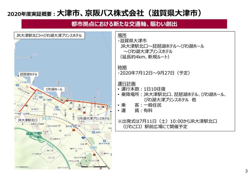 7月12日から実施する大津市と京阪バスの実証実験概要