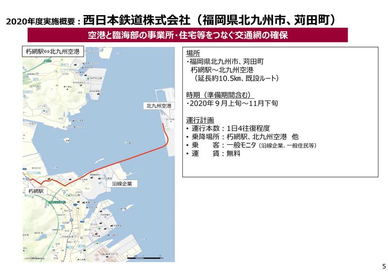 9月上旬から11月下旬の実施を計画する西鉄の実証実験概要