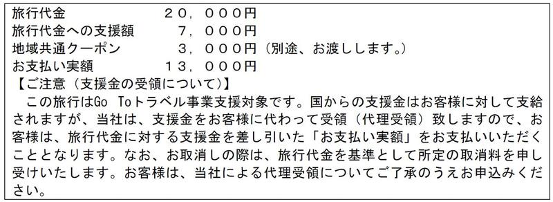 上限の2万円の場合、「旅行代金は2万円」であること、「お支払い実額は1万3000円」であること、「旅行代金への支援額は7000円」であること、「地域共通クーポンは3000円相当」であることなどを表示の基本とする