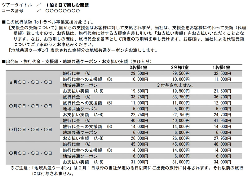 「Go To トラベル事業」取引条件説明書面の旅行代金の表示・注意事項の表示(暫定版)